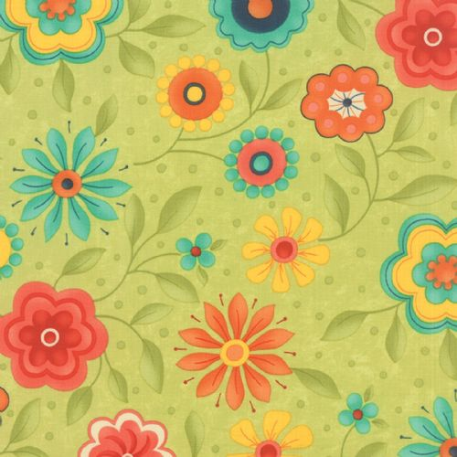 Moda - Block Party Happy Floral (Green) Fabric